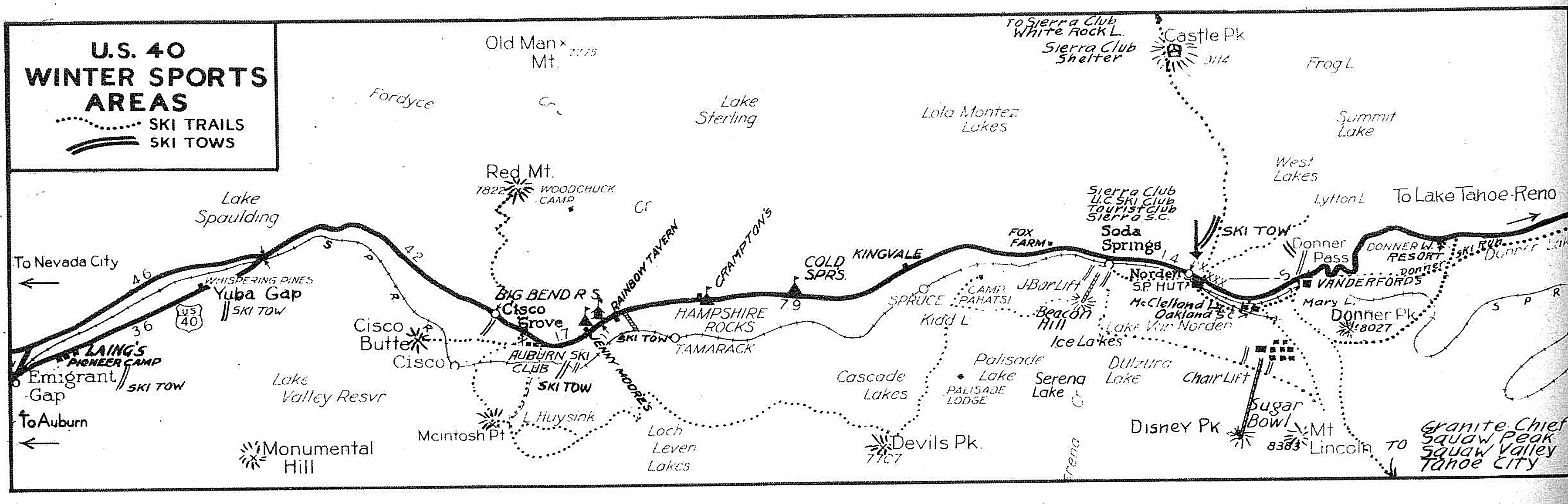 Donner Summit Historical Society Historical Maps - Map of route 40 in us