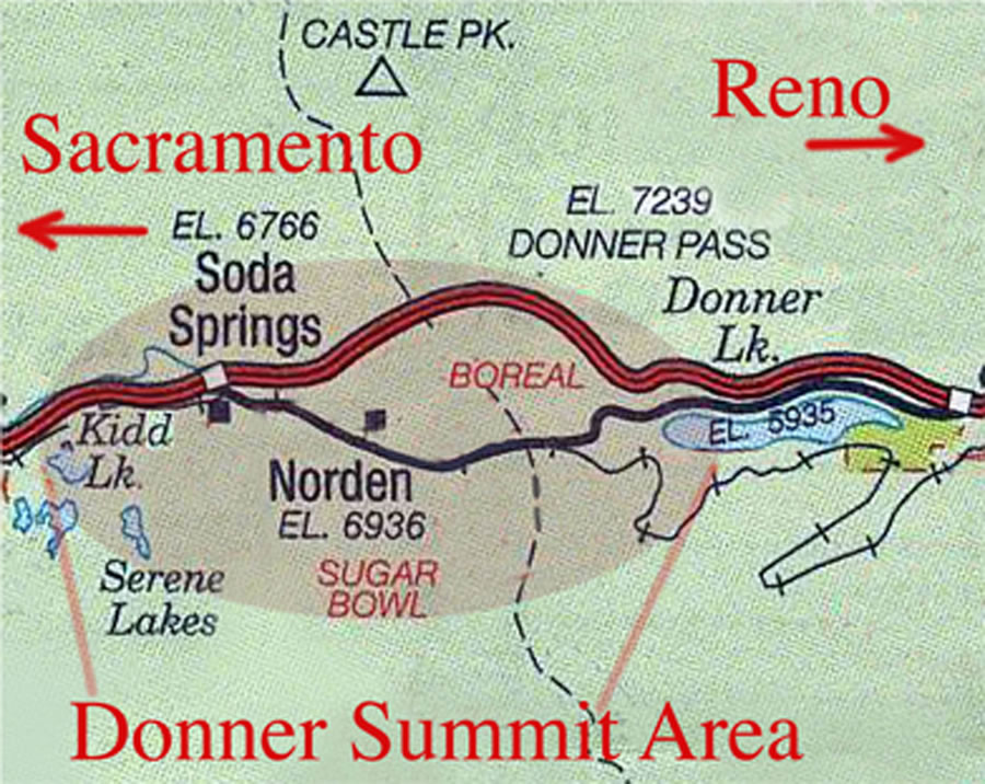 Map to the Donner Summit Historical Society Donner Party Map on